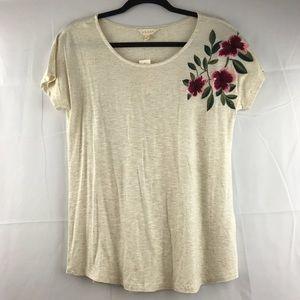 Adiva Embroidered Flora Cap Sleeve Blouse NEW Sz S